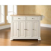 The Gray Barn Tipperary Natural Wood Top Kitchen Island with White Finish