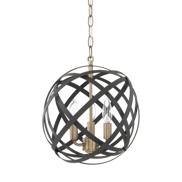 Capital Lighting Axis Collection 3-light Aged Brass/Black Pendant