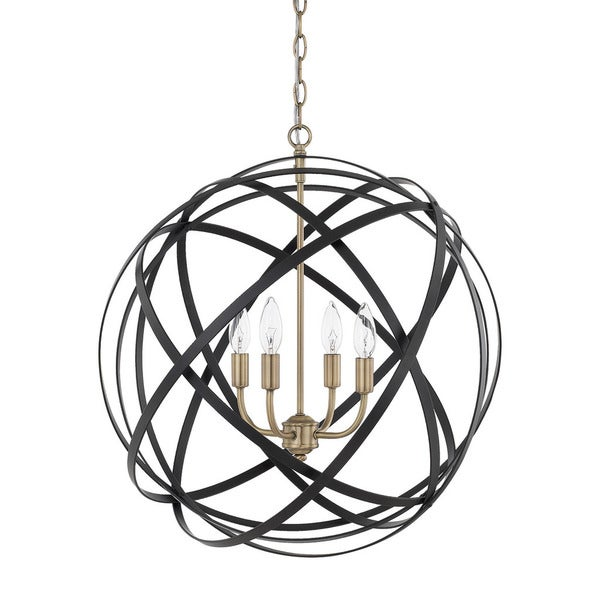 Capital Lighting Axis Collection 4-light Aged Brass/Black Pendant