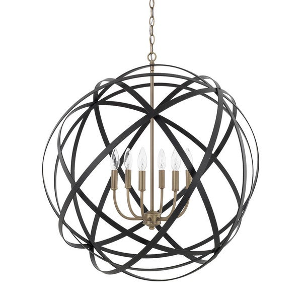 Capital Lighting Axis Collection 6-light Aged Brass/Black Pendant
