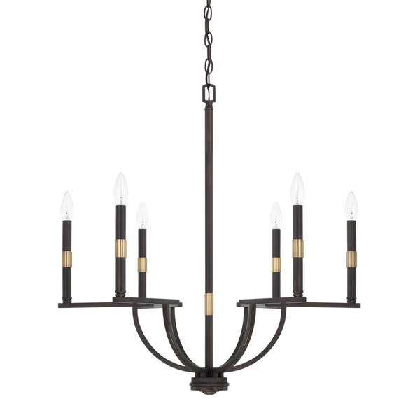 Capital Lighting Cole Collection 6-light Aged Brass/Old Bronze Chandelier
