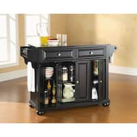 Gracewood Hollow Shehu Solid Black Granite Top Kitchen Island in Black Finish