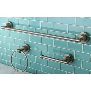 Modern 3-piece Brushed Nickel Bathroom Accessory Set - Grey