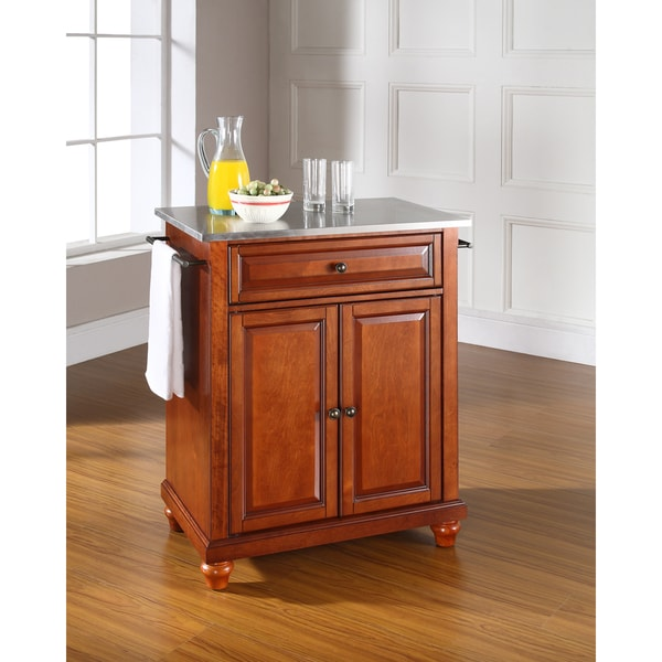 Cambridge Stainless Steel Top Portable Kitchen Island In Clic Cherry Finish
