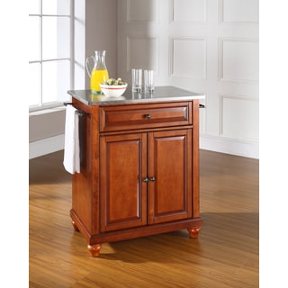 Cambridge Stainless Steel Top Portable Kitchen Island in Classic Cherry Finish