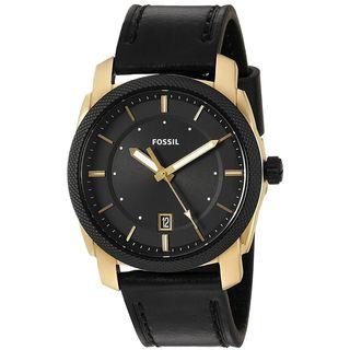 Fossil Men's FS5263 'Machine' Black Leather Watch