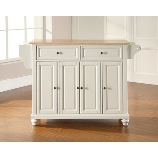 Cambridge Natural Wood Top Kitchen Island in White Finish
