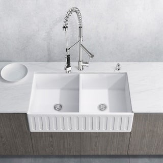 VIGO All-In-One 36 Matte Stone Double Bowl Farmhouse Sink Set With Zurich Faucet In Stainless Steel