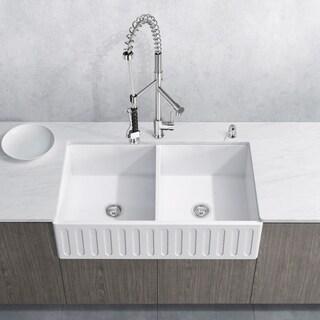 VIGO Matte Stone Double-bowl Farmhouse Sink Set with Zurich Faucet
