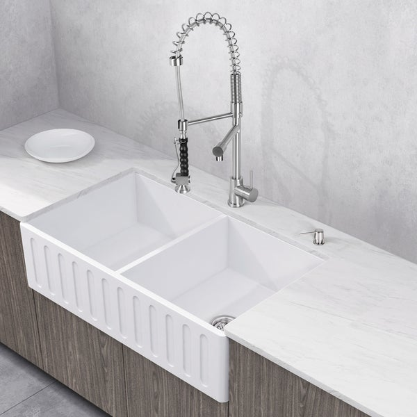 Shop VIGO 36-inch Matte Stone Double-Bowl Farmhouse Sink