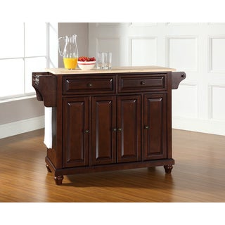 Cambridge Natural Wood Top Kitchen Island in Vintage Mahogany Finish