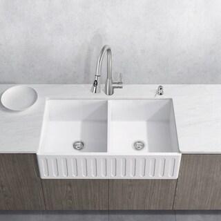 "VIGO 36"" Matte Stone Double-Bowl Farmhouse Sink Set With Aylesbury Stainless Steel Faucet"