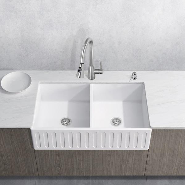 VIGO Matte Stone Double-bowl Farmhouse Sink Set with Aylesbury Faucet