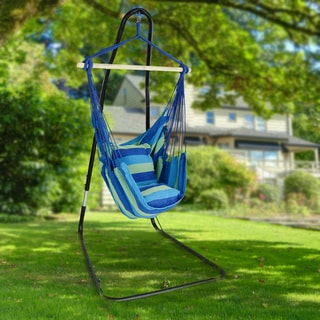 Sorbus® Adjustable Hanging Hammock Chair Swing & Stand, 1 Person, 330 Pound Capacity (Black)