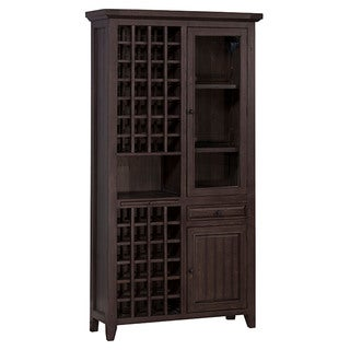 Hillsdale Furniture Weathered Grey Timber Wood Wine Storage Cabinet