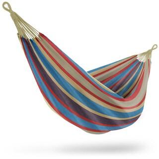 Brazilian Double Hammock - Blue, Sand, Purple, Red Stripes
