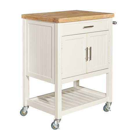 The Gray Barn Grizzly Way White Kitchen Cart - N/A