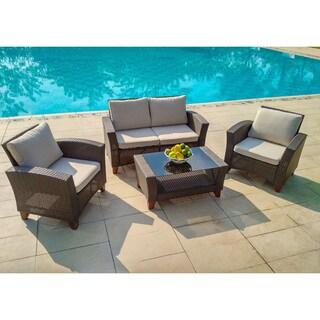 Grey/Brown Wicker/Steel Weatherproof 4-piece Outdoor Garden Patio Furniture Set