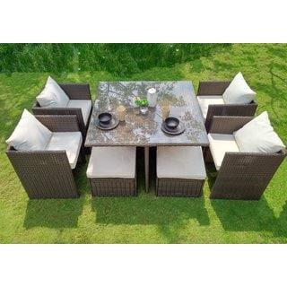 Weatherproof Cushioned Wicker Nesting Indoor/Outdoor Garden Patio 9-Piece Dining Set