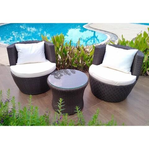 Brown Wicker/Steel/Glass Indoor/Outdoor 3-piece Garden Bistro Set with 2 Chairs