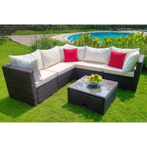 Weatherproof Brand Wicker Garden Patio 6-Piece Cushioned Sectional Set with 3 Corner Sections and 2 Single Sections