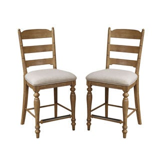 Intercon Lakehouse Brushed Sand Upholstered Ladder Back 24 Inch Barstool -2 pack