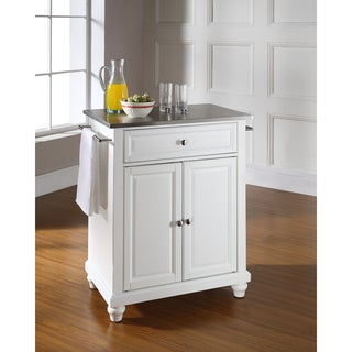 Cambridge Stainless Steel Top Portable Kitchen Island in White Finish