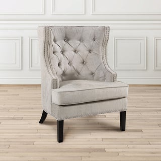 Contemporary Tufted Gray Upholstered Nailhead Accent Chair (2 options available)