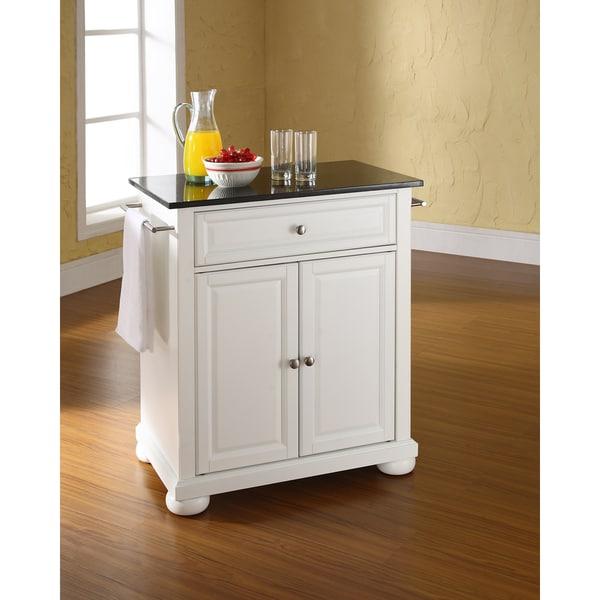 White Kitchen Island Black Granite Top: Shop Alexandria Solid Black Granite Top Portable Kitchen