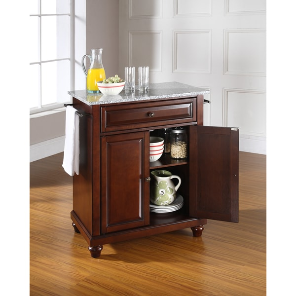 Cambridge Solid Granite Top Portable Kitchen Island In Vintage Mahogany  Finish