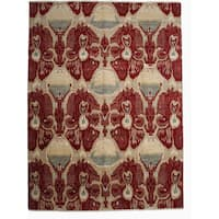 Fourin Red/Beige Wool Ikat Hand-knotted Area Rug - 9' x 12'4
