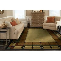 Bacova Traditions Windows Border Motif Camel/Brown Olefin Area Rug (7'5 x 9'5)