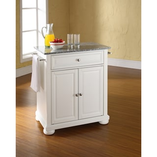 Alexandria Solid Granite Top Portable Kitchen Island In White Finish
