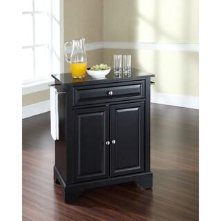 LaFayette Solid Black Granite Top Portable Kitchen Island In Black Finish  (Option: Black)