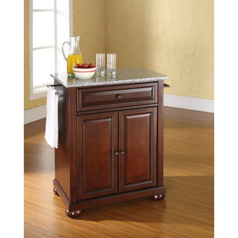 Copper Grove Bell Lake Solid Granite Top Portable Kitchen Island with Vintage Mahogany Finish