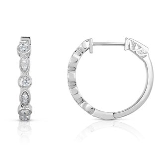Noray Designs 14K White Gold Diamond (0.38 Ct, G-H Color, I1-I2 Clarity) Milligrain Hoop Earrings