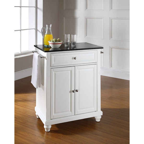Cambridge Solid Black Granite Top Portable Kitchen Island In White Finish