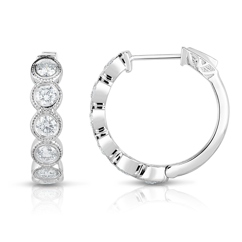 14k Gold Medium Thin Round Diamond Hoop Earrings 1.50ct