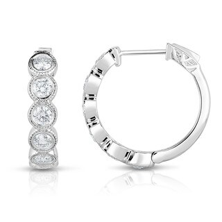 Noray Designs 14K White Gold Diamond (1.50 Ct, G-H Color, I1-I2 Clarity) Bezel Set Hoop Earrings