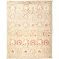 Shafal Hand-knotted Beige Wool Area Rug (8'1 x 10'3)