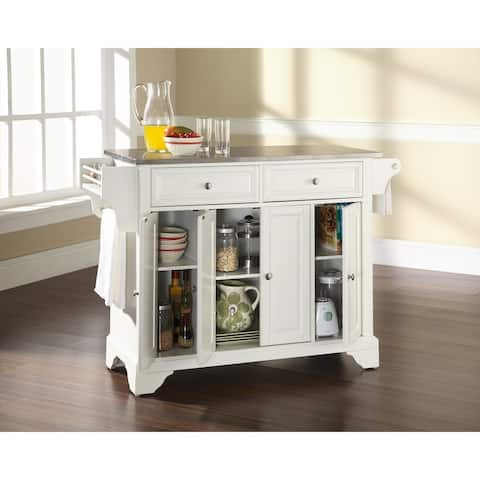 The Gray Barn Tipperary Stainless Steel Top Kitchen Island in White Finish