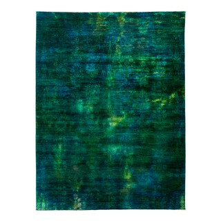 Zabs Blue/Green Wool Hand-knotted Overdyed Area Rug - 8'10 x 11'8
