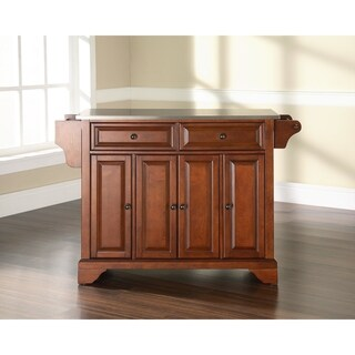 LaFayette Stainless Steel Top Kitchen Island in Classic Cherry Finish