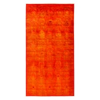 Ismaidari Red Wool Overdyed Hand-knotted Area Rug - 6'2 x 11'8
