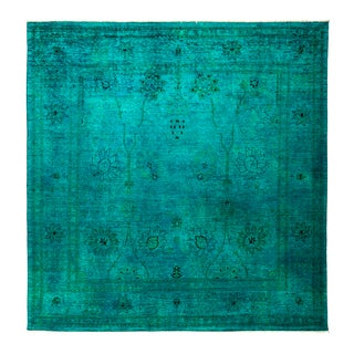 Baijikho Blue/Green Wool Overdyed Hand-knotted Area Rug (9'10 x 9'10)
