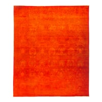 Zaboneh Hand-knotted Overdyed Red Wool Area Rug (9' x 10'9)