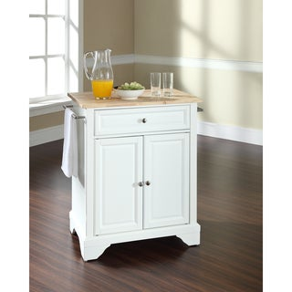 LaFayette Stainless Steel Top Portable Kitchen Island In White Finish