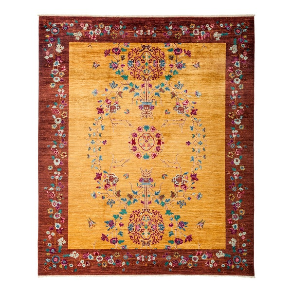 Shop Lataraj Yellow Red Wool Hand Knotted Area Rug 8 1 X 9 9