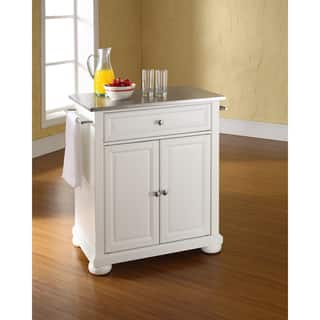 Alexandria White Wood Portable Kitchen Island With Stainless Steel Top