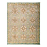 Kemame Hand-knotted Beige Wool Area Rug (9'2 x 11'5)
